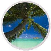 Lanikai Palm Tree Round Beach Towel