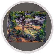 Large Pine And Red Earth Round Beach Towel