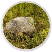 Large Rock And Purple Asters Round Beach Towel