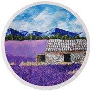 Lavender Farm Round Beach Towel