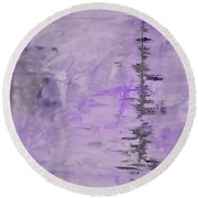 Lavender Gray Abstract Round Beach Towel