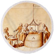 Lavoisiers Respiration Experiments Round Beach Towel