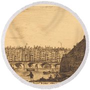 Le Pont-au-change, Paris, Vers 1784 Round Beach Towel