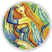 Fairy Leda And The Swan Round Beach Towel