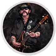 Lemmy Kilmister With Guitar Round Beach Towel