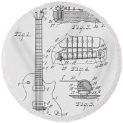 Les Paul  Guitar Patent From 1955 Round Beach Towel
