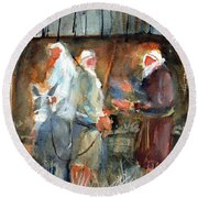 Liberty - At The Manger Round Beach Towel