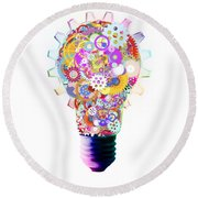 Light Bulb Design By Cogs And Gears  Round Beach Towel by Setsiri Silapasuwanchai