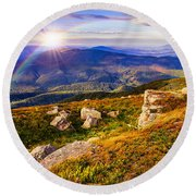 Light On Stone Mountain Slope With Forest Round Beach Towel