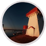 Lighthouse And Marina At Hecla In Manitoba Round Beach Towel