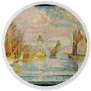 Lighthouse At Groix Round Beach Towel