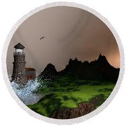 Lighthouse Landscape By John Junek Fine Art Prints And Posters Round Beach Towel