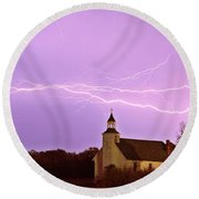 Lightning Bolts Over Spring Valley Country Church Round Beach Towel