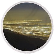Lights Of Los Angeles, California Round Beach Towel