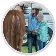 Lil' Cowgirls Round Beach Towel