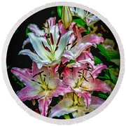 Lilies Of The Falls Round Beach Towel