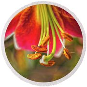 Lily Abstract Round Beach Towel
