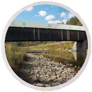 Lincoln Covered Bridge Round Beach Towel