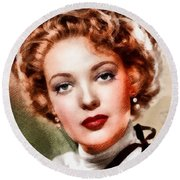 Linda Darnell, Vintage Hollywood Actress Round Beach Towel