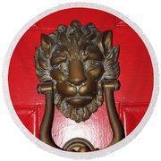 Lion Head Door Knocker Round Beach Towel