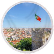 Lisbon Castle Flag Round Beach Towel
