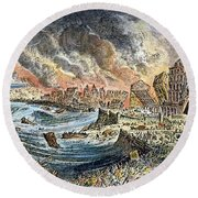 Lisbon Earthquake, 1755 Round Beach Towel