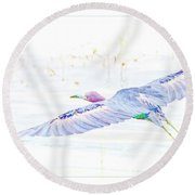 Little Blue Heron In Flight Round Beach Towel