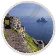 Little Skellig Island, From Skellig Michael, County Kerry Ireland Round Beach Towel