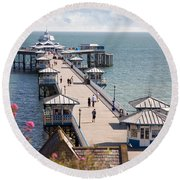 Llandudno Pier North Wales Uk Round Beach Towel