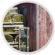 Lobster Traps Round Beach Towel