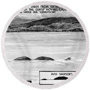 Loch Ness Monster, 1934 Round Beach Towel
