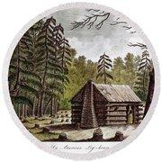 Log Cabin, 1826 Round Beach Towel
