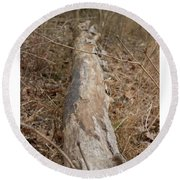 Log In The Woods Round Beach Towel