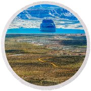 Lone Rock In Lake Powell Utah Round Beach Towel