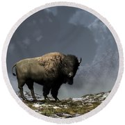 Lonely Bison Round Beach Towel by Daniel Eskridge