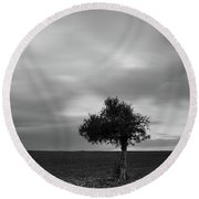 Lonely Olive Tree In A Green Field  And  Moving Clouds Round Beach Towel