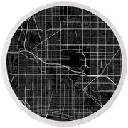 Long Beach California Usa Dark Map Round Beach Towel