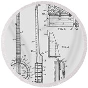 Long Neck Banjo Patent From 1964 Round Beach Towel