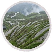 Longsheng Rice Terraces Round Beach Towel