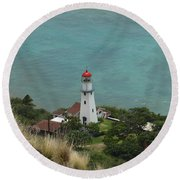 Looking Down At The Lighthouse Round Beach Towel