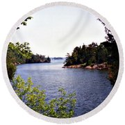 Looking Out Over The River Round Beach Towel