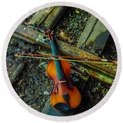 Lost Violin Round Beach Towel
