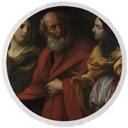 Lot And His Daughters Leaving Sodom Round Beach Towel