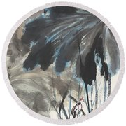 Lotus In The Pond Round Beach Towel