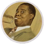 Louis Armstrong, Music Legend Round Beach Towel