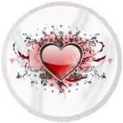 Hearts 8 T-shirt Round Beach Towel