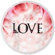 Love Heart Nd12 Round Beach Towel