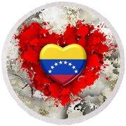 Love Venezuela Round Beach Towel