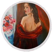 Lovely In Red Jenny Lee Discount Round Beach Towel