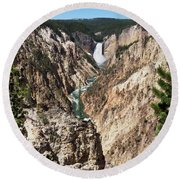 Lower Falls From Artist Point In Yellowstone National Park Round Beach Towel
